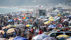 Crowded Santa Monica Beach California Stock Footage