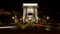Chain Bridge night timelapse with cars in Budapest, Hungary Stock Footage