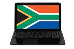 laptop computer with  national flag of south africa - stock photo