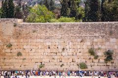 wailing wall in jerusalem - stock photo