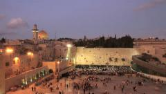 Western wall timelpase, Temple Mount, day to night, Jerusalem, Israel Stock Footage