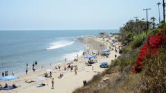 Crowded Santa Monica Beach California - stock footage