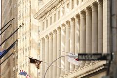 National City Bank Building at 55 Wall Street  - Pillars on Wall Street - stock photo