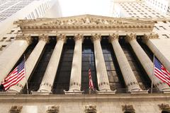 New York Stock Exchange Pillars Stock Photos