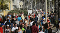 Crowded Santa Monica Walkway - stock footage