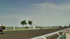 Horses practicing at Keeneland race track Stock Footage