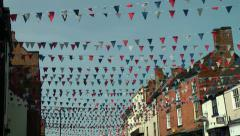 English Street Festival Bunting decoration Stock Footage