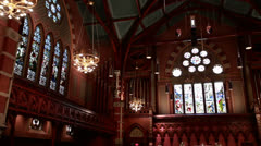 Old south church interior pan left to right Stock Footage
