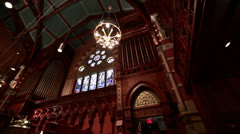 Old south church ceiling pan right to left Stock Footage