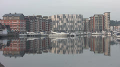 Reflections of Buildings and Yachts at Ipswich p202 Stock Footage
