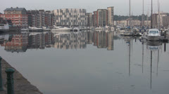 Reflections of Buildings and Yachts at Ipswich p203 Stock Footage