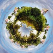 spherical panorama novodevichy convent - stock photo
