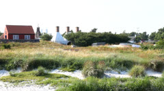 Smokehouse chimneys at Bornholm Stock Footage