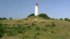 Beautiful Old Lighthouse on Hiddensee Island - Baltic Sea, Northern Germany Stock Footage