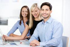 confident competent business team - stock photo