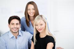 portait of three business colleagues - stock photo