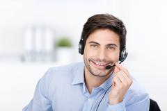 businessman with headphone - stock photo