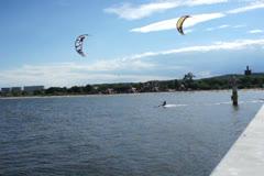 Kite surfing on the sea NTSC - stock footage