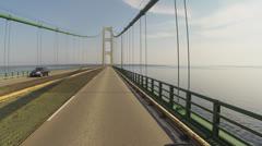 POV of Motorcycle Rider Crossing Mackinaw Bridge in Michigan Stock Footage