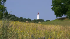 Old Lighthouse on Hiddensee Island - Baltic Sea, Northern Germany Stock Footage