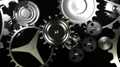 Loopable background with gears movement end alpha Stock Footage