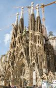 View of the sagrada familia cathedral, designed by antoni gaudi, in barcelona Stock Photos