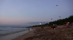 People at Kuta beach in Bali Stock Footage
