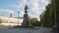 Writer Gogol Monument hyperlapse 4K Stock Footage