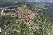 Stock Photo of aerial view of town of metsovo, greece
