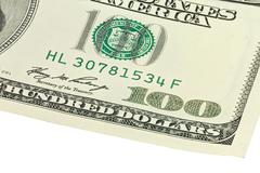 Corner of one hundred dollars banknotes Stock Photos