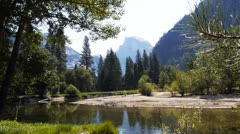 Merced river and half dome Stock Footage