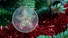 White lace Christmas tree decoration Stock Footage