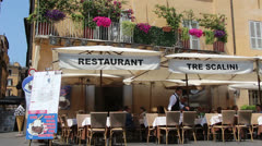 Outside restaurant in Rome on sunny day Stock Footage