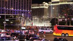 Musical fountains at Bellagio Hotel Stock Footage