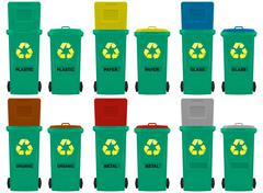 wheeled bins  - stock illustration