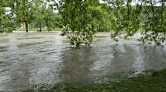High water 100-year flood June 2013 - Gera, Germany Stock Footage