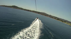 Parasailing, Parascending - Extreme Sports - getting down Stock Footage