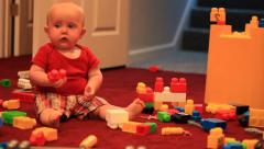 Baby boy playing in Toy Room Stock Footage