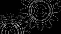 Auto Parts Black and White Wire Frame-  Big Gears Stock Footage