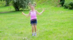 Child jumps Stock Footage