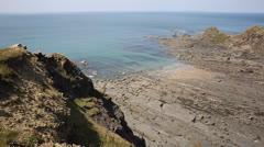 Bude beach Cornwall England PAN Stock Footage