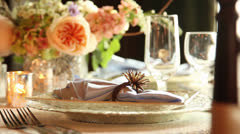 Wedding table setting tight shot Stock Footage