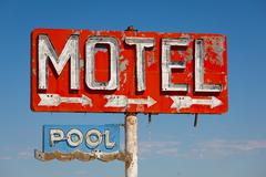 Vintage, neon motel sign Stock Photos