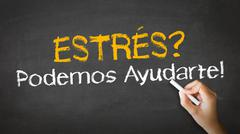 stress we can help (in spanish) - stock illustration