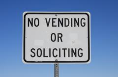 no vending or soliciting sign - stock photo