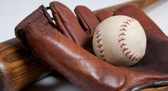 antique baseball bat, mitt and ball - stock photo