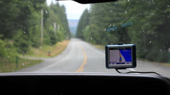 Gps in the windshield of car Stock Footage