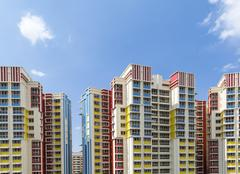 colorful residential apartments - stock photo