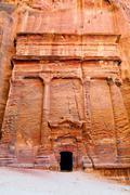 tombs of petra - stock photo