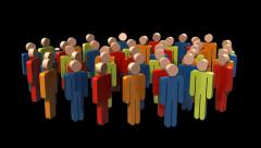 Growing Group Of People with Alpha Channel - stock footage